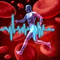 10743742 - human cardiovascular circulation represented by a running human with a background of red blood cells flowing through an artery showing the concept of the medical circulatory system that is well oxygenated.